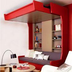 Une mezzanine mobile transforme une chambre en un salon