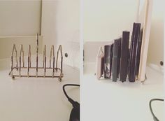 toast rack/letter rack as makeup palette storage!         toast/letter rack from Love Lane Vintage on etsy! https://www.etsy.com/shop/LoveLaneVintageUK