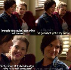 Hot spot in my pocket. Hanna Caleb PLL pretty little liars lol