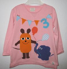 Langarmshirts - Geburtstags-Shirt Applikation *MAUS & ELEFA... - ein Designerstück von WUNDERKINDER-Barbara bei DaWanda