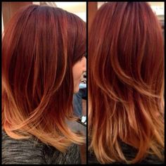 Love this Gorgeous red copper color melt by Tina! She has openings today! Give her a call to book a spot 856-751-4247!! ❤️ #salonheadcandy #colormelt #ombre