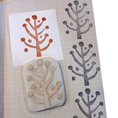Ro Bruhn Art: Earrings and hand carved stamps