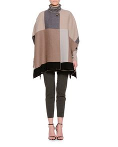 Patchwork One-Button Poncho, Two-Tone Turtleneck Sweater