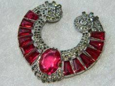 Vintage Signed KTF Early Trifari Pave Rhinestone Dark Pink Glass Dress Clip | eBay