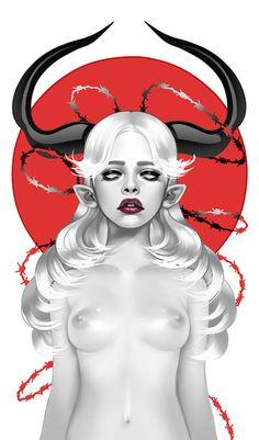 Unapproachable by Cusd on DeviantArt High Fantasy, Dark Fantasy Art, Fantasy Girl, Dark Art, Angel Demon, Demon Art, Demon Drawings, Art Bin, Artist Loft