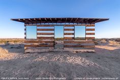 Lucid Stead, Joshua Tree, California, Phillip K Smith III, 2013 Composed of mirror, LED lighting, custom built electronic equipment and Arduino programming amalgamated with a preexisting structure, this architectural intervention seems alien in context to the bleak landscape.