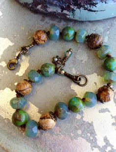 Knotted Beaded Bracelet  Blue Aquamarine by CountryChicCharms, $38.00