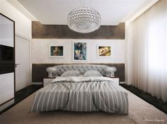gray white bedroom with generous size of chandelier, give grandeur to the room