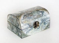 Wooden Treasure Vintage Decoupage Box, ready to ship 5.5 / 4 / 3 ""