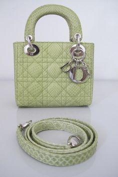 Christian Dior Mini Lady Dior Green Python Cannage Leather Bag Shoulder  Strap  ChristianDior  ShoulderBag f013f2eef564d