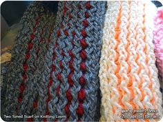 Two-Toned Loom Knitted Scarf - Into the ether.net