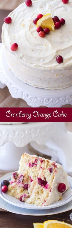 This easy cranberry orange cake is the perfect Christmas dessert! Loaded with cranberries and sweet orange flavor, this cake recipe is quickly becoming my favorite! by autumn Christmas Desserts Easy, Desserts To Make, Delicious Desserts, Light Desserts, Christmas Treats, Cupcakes, Cupcake Cakes, Holiday Baking, Christmas Baking