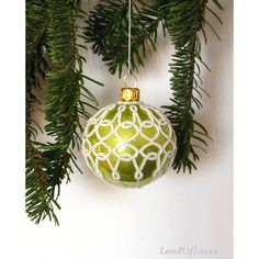Chartreuse Victorian Christmas glass ball with handmade tatted lace... (73 PLN) ❤ liked on Polyvore featuring home and home decor