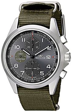Women's Wrist Watches - Glycine Unisex 392410ATTB2 Combat Stainless Steel Automatic Watch with Green Nylon Band -- You can find out more details at the link of the image. (This is an Amazon affiliate link)