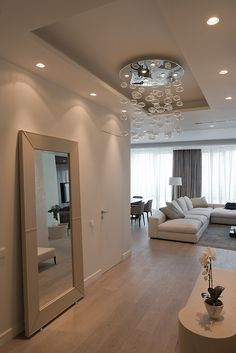 Contemporary Apartment Design in Elegant White Interior: Big Mirror Placement For Dressing Activity Placed In A Room Connected With Moscow Apartment Living Room ~ FreeSharing Apartment Inspiration House Design, Interior, Home N Decor, Home, House Styles, Luxury Homes, House Interior, Home Deco, Interior Design