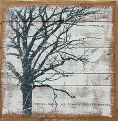 Branches painted on wood plank background
