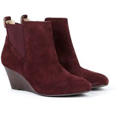 Sole Society Addison ankle bootie (£53) ❤ liked on Polyvore featuring shoes, boots, ankle booties, burgundy, suede ankle booties, wedge booties, wedge bootie, short boots and burgundy ankle boots