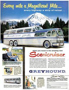 GMC 4501 Scenicruiser Passenger Bus  - Greyhound Bus Lines - Vintage Travel Advertising - 1954