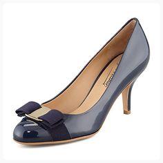 JOOGO Women's High Heel Fashion Bowkont Almond Toe Pumps Handmade For Wedding Party Dress Stiletto Shoes Dark Blue US13 (*Partner Link)