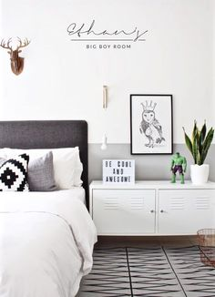 I want this boy's bedroom for myself! Fantastic use of greys and whites.