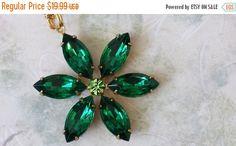 20% SALE Emerald Rhinestone Necklace  Crystal by ArtistInJewelry