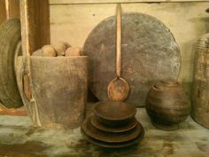 .wonderful old woods like bread board, bowls great spoon like I passed up @ colburg.