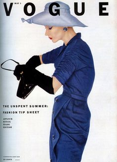 Lisa wearing dress by Adele Simpson, cover photo by Irving Penn, Vogue, May 1, 1952
