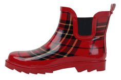 Women's Short Ankle Red Plaid Rubber Rain Boots Size 9 -- Want additional info? Click on the image.