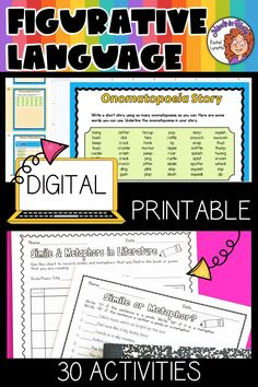 Figurative language is SUCH a fun English language arts topic to tackle with students! Kids love learning about onomatopoeias, hyperboles, idioms, personification, and more because they tend to be so silly and fun to read and write. This resource pack includes a variety of printables or Google Classroom digital versions that you can use to teach and practice figurative language in your upper elementary classroom. You definitely want to click through to grab this ELA activity pack for your class! Writing Resources, Teaching Writing, Reading Strategies, Reading Skills, Figurative Language Activity, Similes And Metaphors, English Language Arts, Reading Workshop, Language Activities