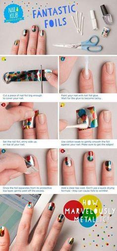Cute manicure using nail art foil #nailart