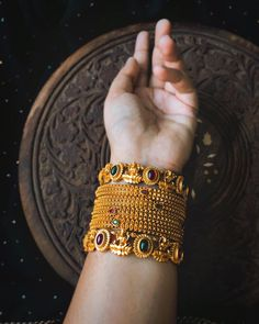 Check out this lovely lakshmi temple bangles set by the brand House of Jhumkas. Gold Bangles For Women, Gold Bangles Design, Ruby Bangles, Bridal Bangles, Gold Jewelry Simple, Stylish Jewelry, Jewelry Design Earrings, Gold Jewellery, Wedding Jewellery Inspiration