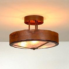 Avalanche Ranch A48301FC-02 3 Light Woodcrest Rustic Band Semi Flush Ceiling Light, Rust Patina