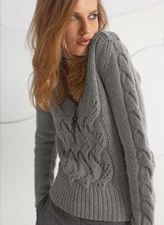 Bergere de France knitting patterns, Bergere de France Sweater With Cables 136.19, Sweater with Cables, from Laughing Hens