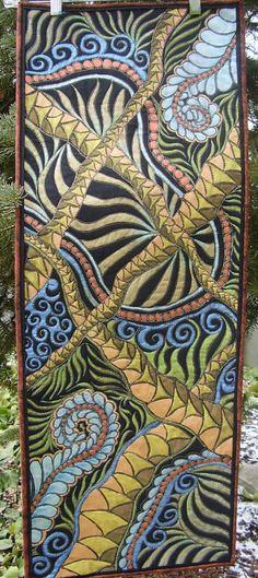 Carol Hernandez or sandydekker1 on Etsy Tropical - jungle foliage - applique - Zentangle inspired. Art quilt. Painted art quilt. Original design. Home decor wall hanging.
