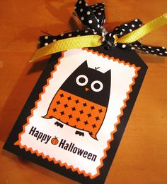 Free Printable Halloween Owl Tag | Living Locurto - Free Printables, How To DIY Ideas, Crafts & Party Ideas.