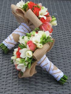Lovely bouquet wraps https://www.etsy.com/listing/122353356/burlap-with-white-lace-ribbon-1-inch-x-3?ref=shop_home_active_16
