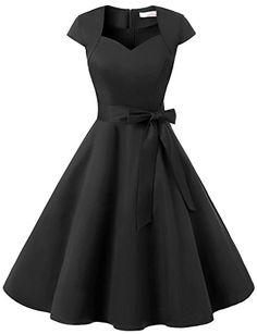 Dressystar DS1955 Women Vintage 1950s Swing Cap Sleeevs Prom Dresses V Neck L Black