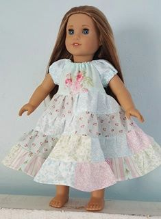 """Spring into Easter doll dress by #MyKidsDrawers 18"""" Doll PATCHWORK PASTEL TWIRL Peasant Princess Dress"""