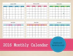 Printable 2016 Monthly Calendar Editable by MBucherConsulting Printable Calendars, Printable Planner, Printables, 2016 Calendar, Marketing Consultant, Monthly Planner, Planners, Social Media, Etsy