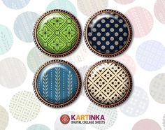 RETRO PATTERNS  1 inch circle  Digital Collage by KARTINKAshop, $3.50
