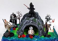 STAR WARS 22 Piece Birthday Cake Topper Featuring 6 Star Wars Figures and Decorative Themed Accessories Star Wars Cupcake Toppers, Star Wars Cupcakes, Star Wars Cake, Edible Cake Toppers, Star Wars Birthday Cake, Birthday Cake Toppers, Wedding Cake Toppers, Darth Vader Figure, Ghost Cake