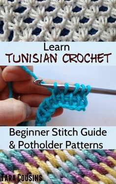 Learn Tunisian Crochet: Beginner Stitch Guide & 6 Easy Potholder Patterns by Tara Cousins, http://www.amazon.com/dp/B00HX3RK3C/ref=cm_sw_r_pi_dp_A4e3sb1QA38JJ