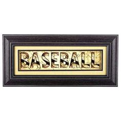 Framed Baseball Word Print Wall Art