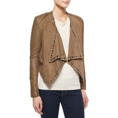 Neiman Marcus Grommet-Detail Draped Leather Jacket (246 AUD) ❤ liked on Polyvore featuring outerwear, jackets, taupe, real leather jacket, long sleeve jacket, drape jacket, leather jacket and cropped leather jacket