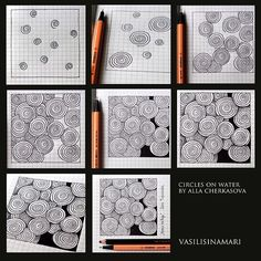 Circles on water doodles zentangles, zentangle patterns, doodle art, doodle drawings, art Tangle Doodle, Tangle Art, Zen Doodle, Doodle Art, Zentangle Drawings, Doodles Zentangles, Doodle Drawings, Doodle Patterns, Zentangle Patterns