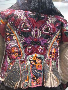 Embroidered women's sheepskin jacket, Matyo museum, Mezőkövesd - Hungary Hungarian Embroidery, Folk Embroidery, Embroidery Patterns, Stitch Head, Chain Stitch Embroidery, Sheepskin Jacket, Braided Line, Gypsy, Textiles