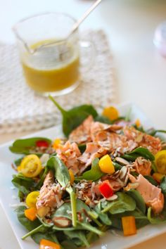 Summer Salmon Salad with Honey Dijon Dressing - The perfect way to dress up a summer evening!