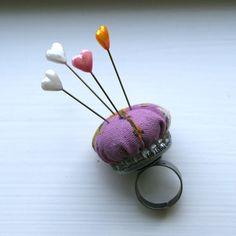 Make a tiny pincushion ring