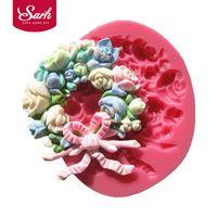 M0217 couronne de fleurs de rose guirlande fondant moules à gâteau moule de chocolat pour la cuisine cuisson Sugarcraft décoration outil