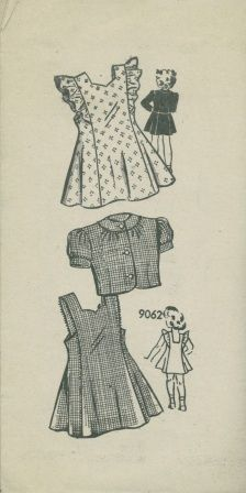 http://shop.okeebees.com/searchquick-submit.sc?keywords=u9062 An unused ca. 1940's to 1950's unbranded pattern 9062.  Toddler's  Pinafore-style jumper dress with bolero jacket.